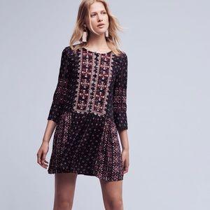 Anthropologie embroidered drop waist dress XS